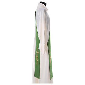 Embroidered Deacon Stole in polyester with cross and ear of wheat symbols s3