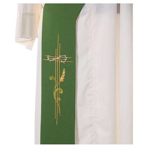 Embroidered Deacon Stole in polyester with cross and ear of wheat symbols 2