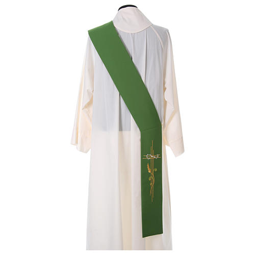 Embroidered Deacon Stole in polyester with cross and ear of wheat symbols 4