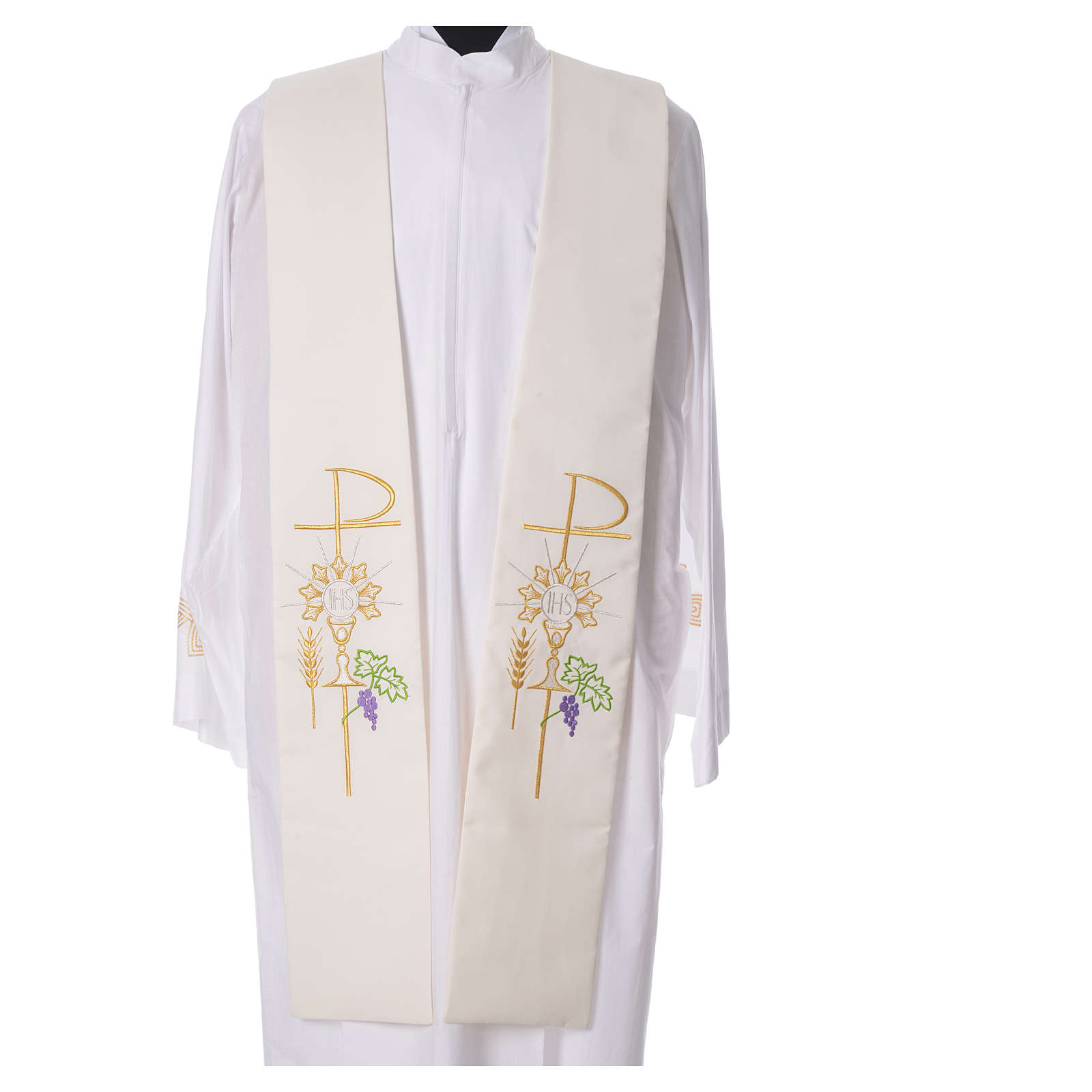 Tristole in polyester with chalice, host, grapes and Chi-rho sym 4