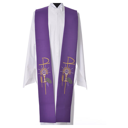 Tristole in polyester with chalice, host, grapes and Chi-rho sym 3