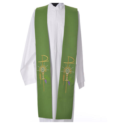 Tristole in polyester with chalice, host, grapes and Chi-rho sym 6