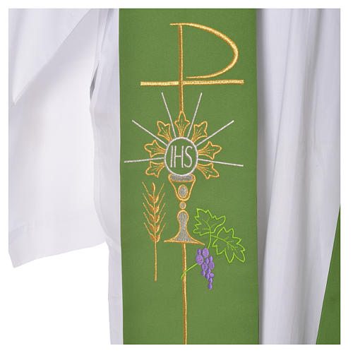 Tristole in polyester with chalice, host, grapes and Chi-rho sym 7