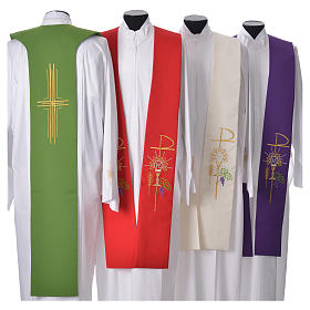 Liturgical Tristole in polyester with chalice, host, grapes and Chi-rho sym s2
