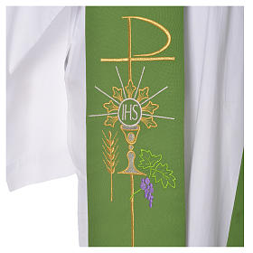 Liturgical Tristole in polyester with chalice, host, grapes and Chi-rho sym s7