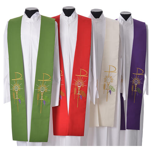 Liturgical Tristole in polyester with chalice, host, grapes and Chi-rho sym 1