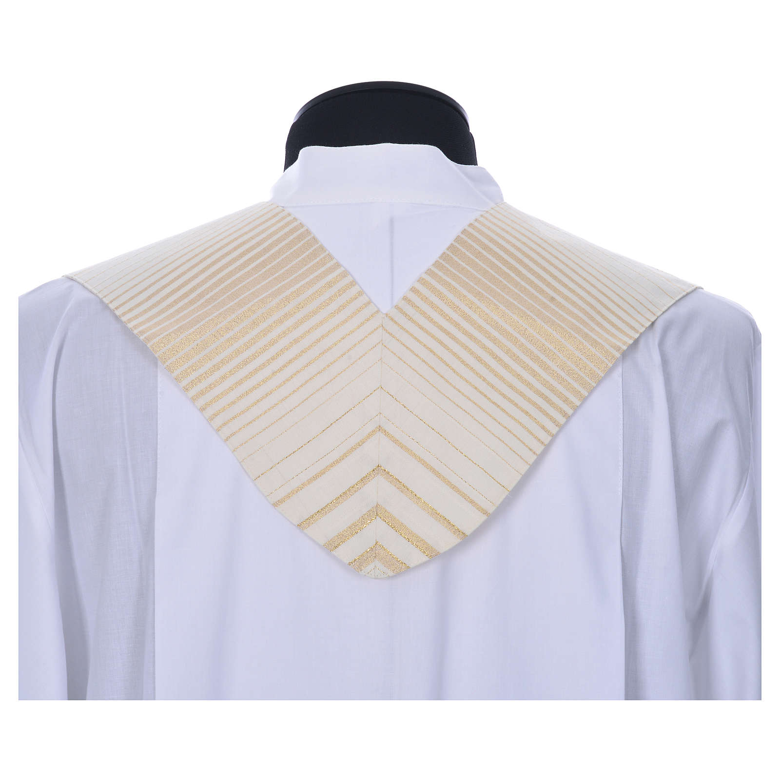 Minister Stole in wool and lurex, striped 4