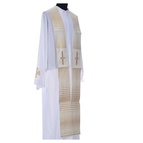Minister Stole in wool and lurex, striped 2