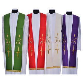 Priest Stole in polyester with cross embroidery s1