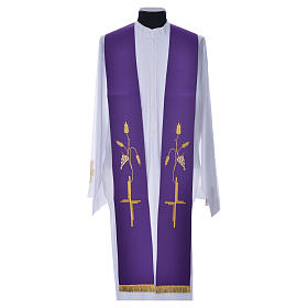 Priest Stole in polyester with cross embroidery s4