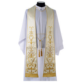 Clergy Stole in satin with floral embroidery s1