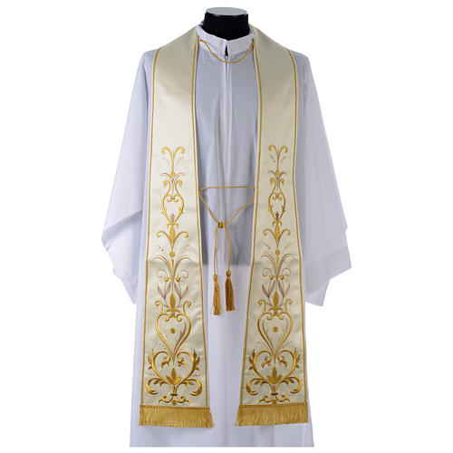 Clergy Stole in satin with floral embroidery 1