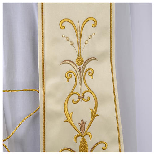 Clergy Stole in satin with floral embroidery 3
