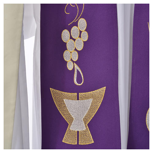 Stole, 80% polyester 20% wool with chalice grapes decoration 3
