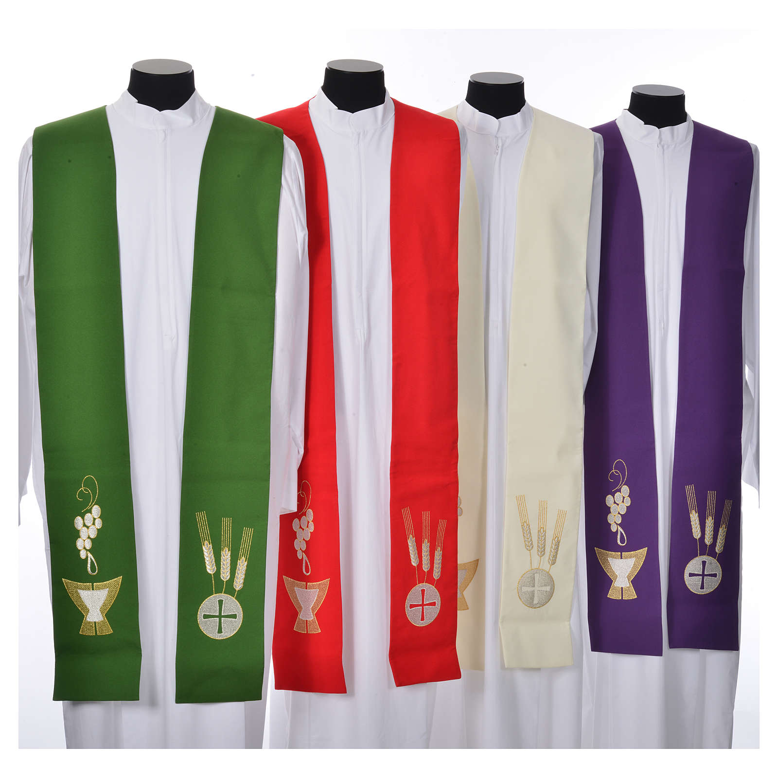 Clergy Stole, 80% polyester 20% wool with chalice grapes decoration 4