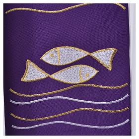 Étole 80% polyester 20% laine décor poissons et croix s4