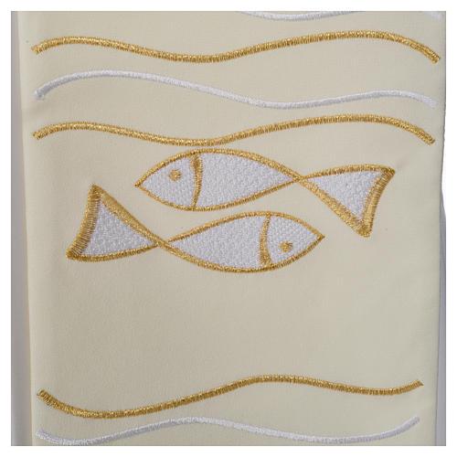 Étole 80% polyester 20% laine décor poissons et croix 3