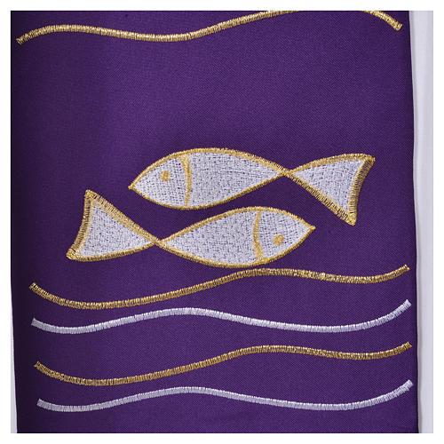 Étole 80% polyester 20% laine décor poissons et croix 4