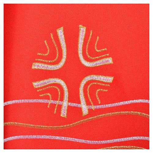 Étole 80% polyester 20% laine décor poissons et croix 5
