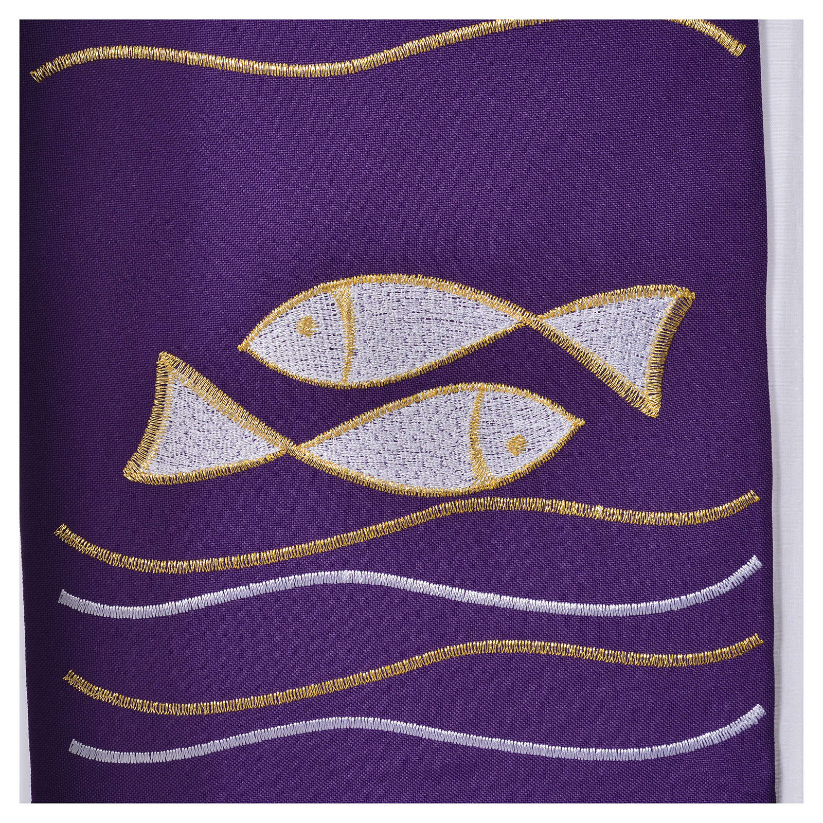 Clergy Stole, 80% polyester 20% wool with fish and cross decoration 4