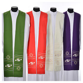 Clergy Stole, 80% polyester 20% wool with fish and cross decoration s1