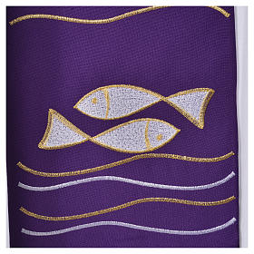Clergy Stole, 80% polyester 20% wool with fish and cross decoration s4