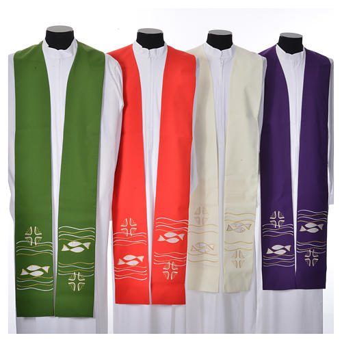 Clergy Stole, 80% polyester 20% wool with fish and cross decoration 1
