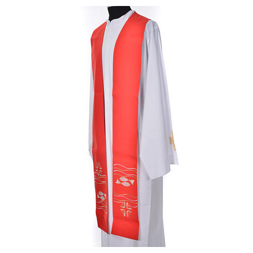Clergy Stole, 80% polyester 20% wool with fish and cross decoration 6