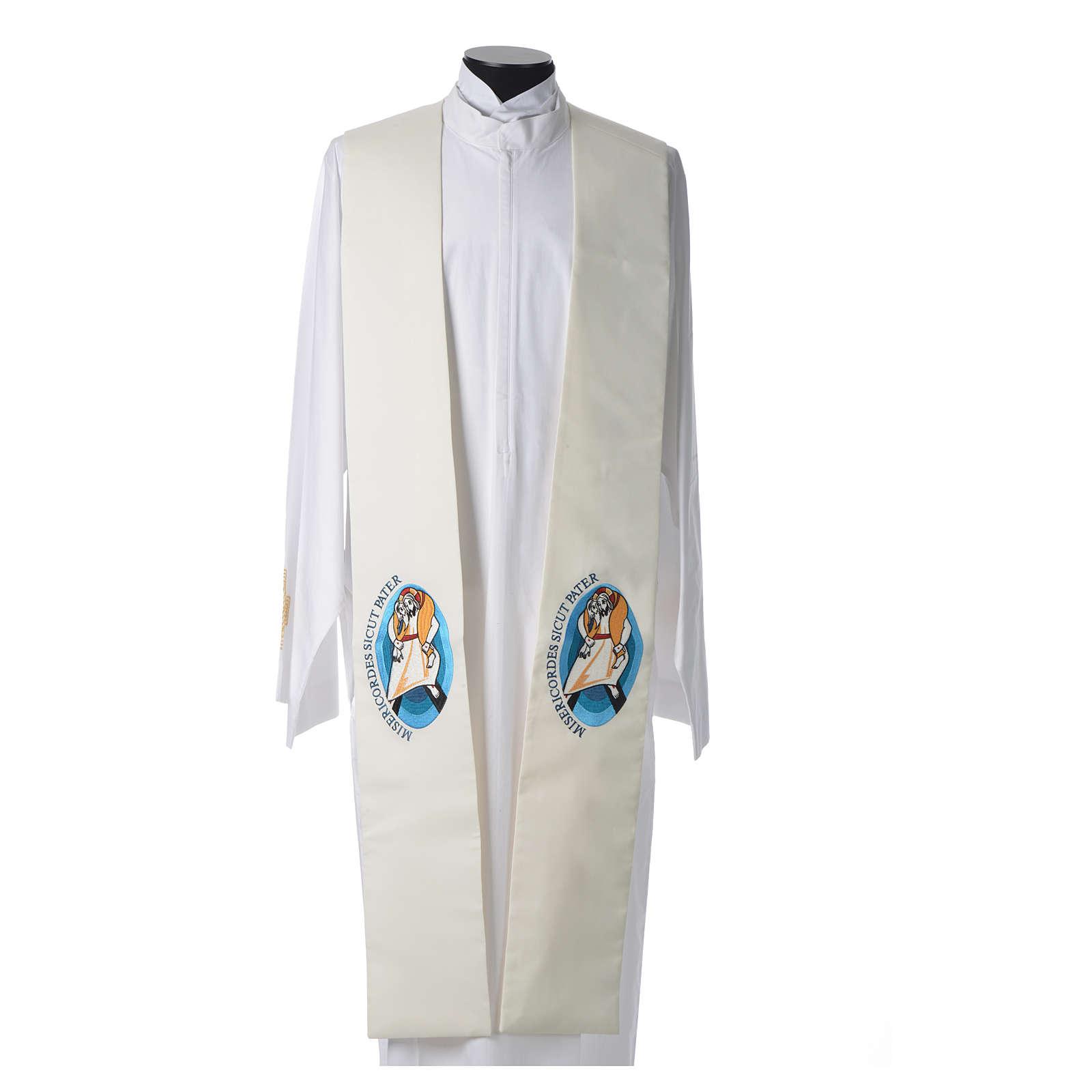 STOCK Stuła szeroka Jubileusz Papież Franciszek napis ŁACIŃSKI poliester haft maszynowy 4