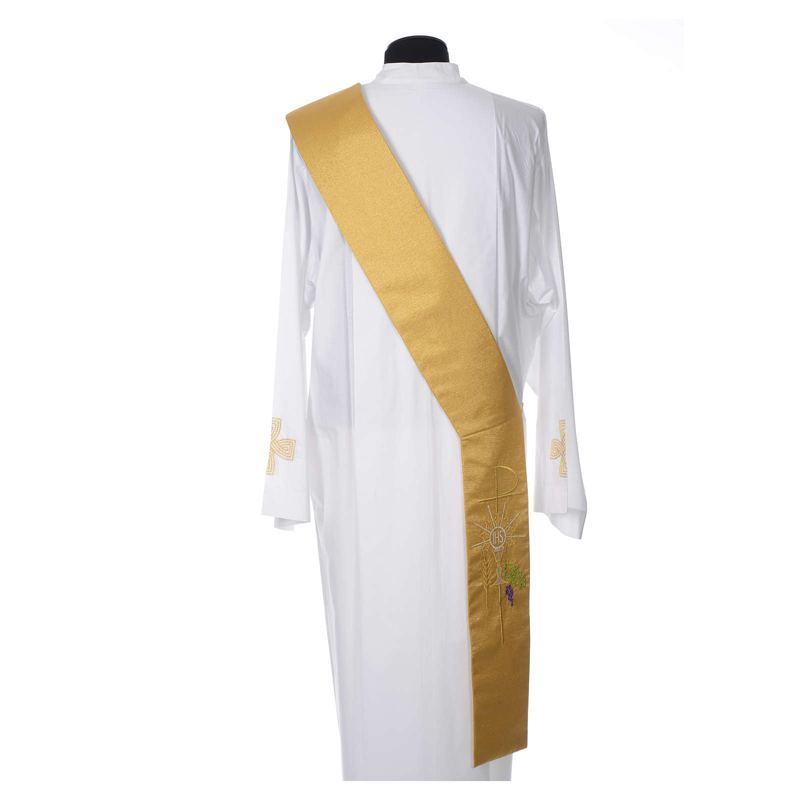 Stola diaconale 100% poliestere calice ostia uva oro 4