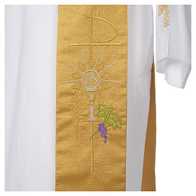 Stola diaconale 100% poliestere calice ostia uva oro s4