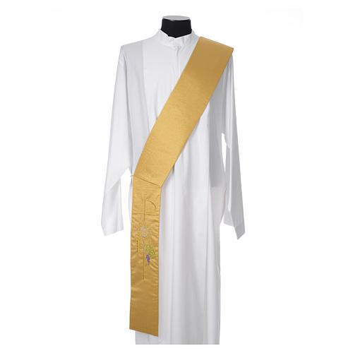 Stola diaconale 100% poliestere calice ostia uva oro 1