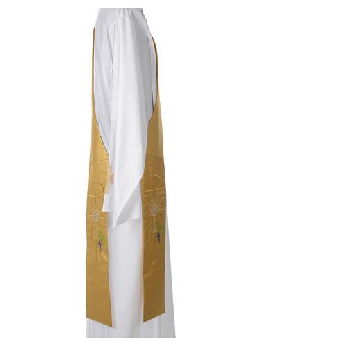 Stola diaconale 100% poliestere calice ostia uva oro 2