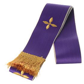 Kleine Stola weiss und violett mit Stickerei s1