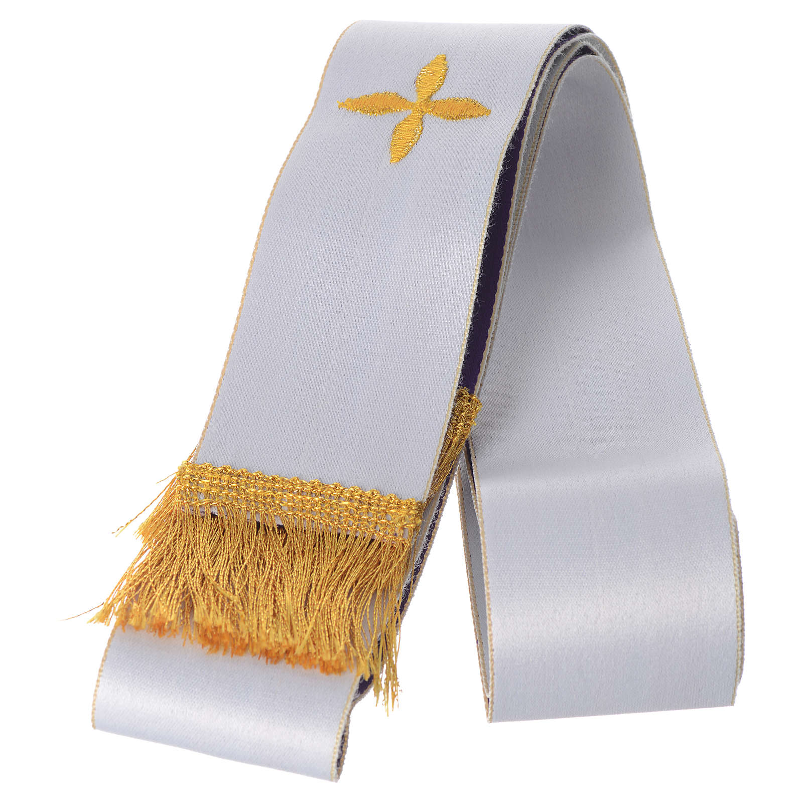 Small clergy Stole in White and Purple, Embroidered 4