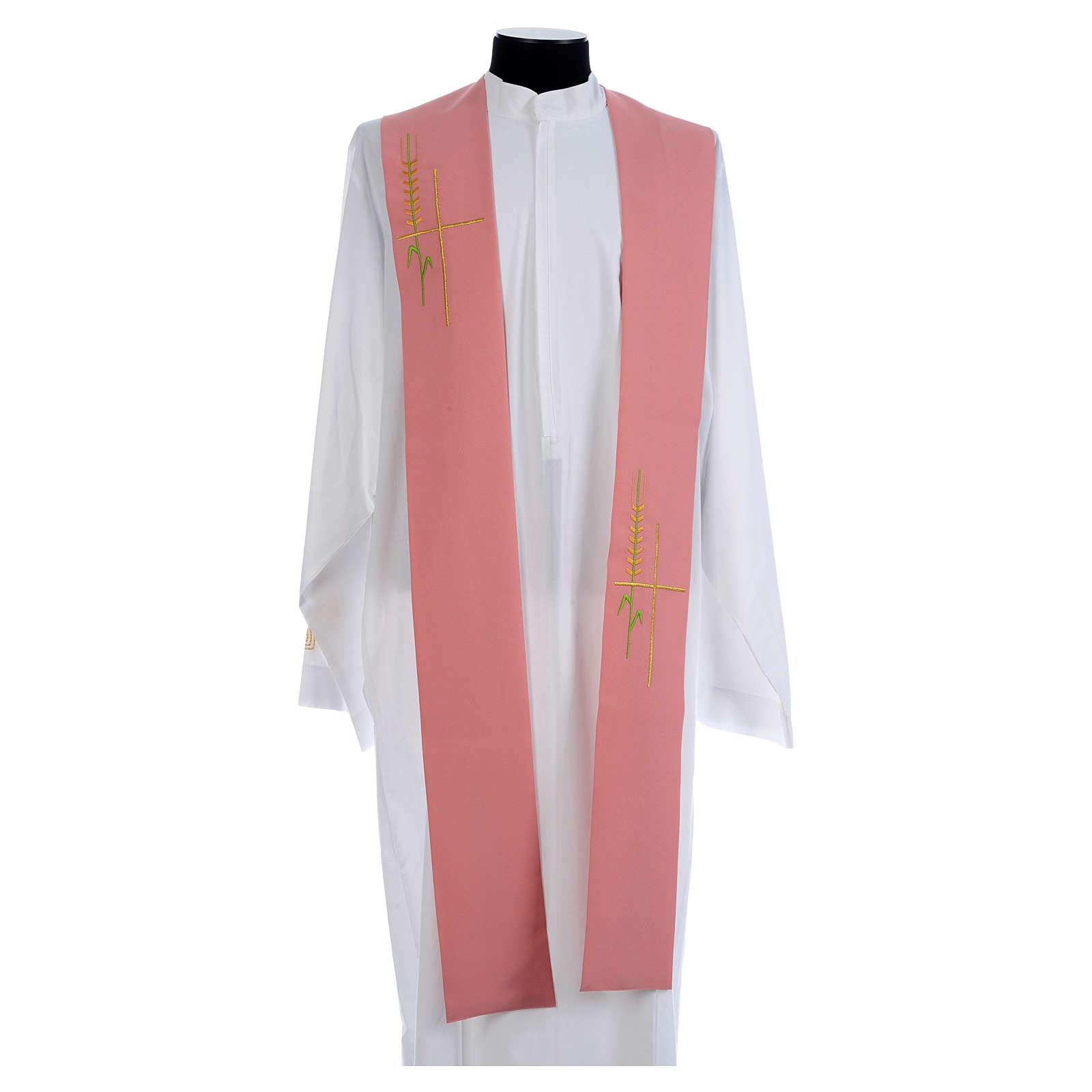 Estola monocolor rosa espiga cruz estilizada poliéster 4