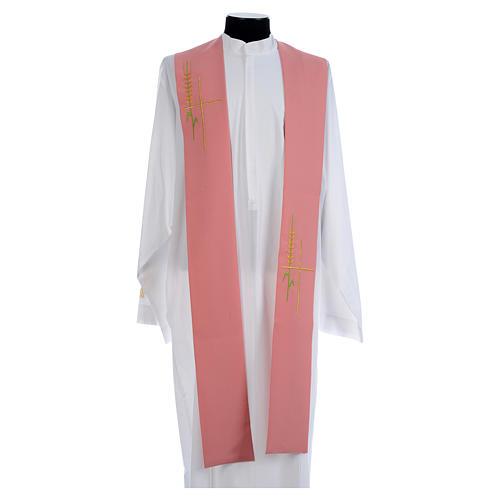 Estola monocolor rosa espiga cruz estilizada poliéster 1