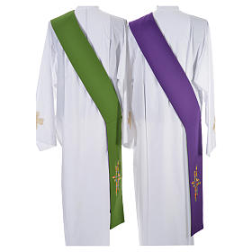 Stolone per diacono verde viola double face croce multicolor s3
