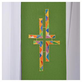Stolone per diacono verde viola double face croce multicolor s4