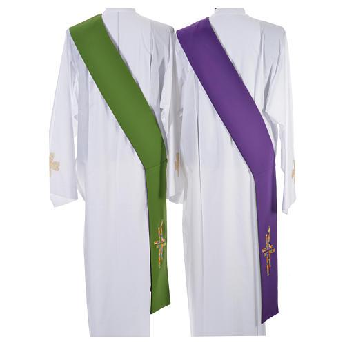 Stolone per diacono verde viola double face croce multicolor 3