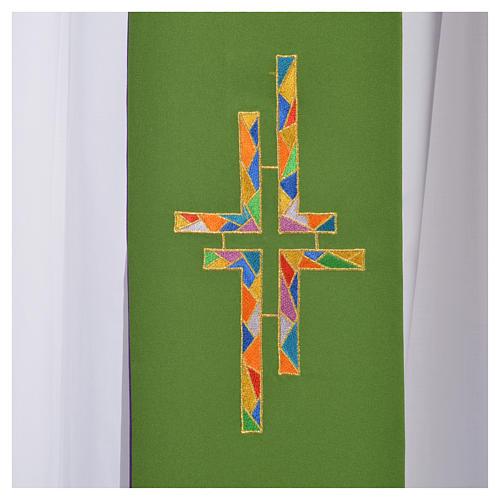 Stolone per diacono verde viola double face croce multicolor 4