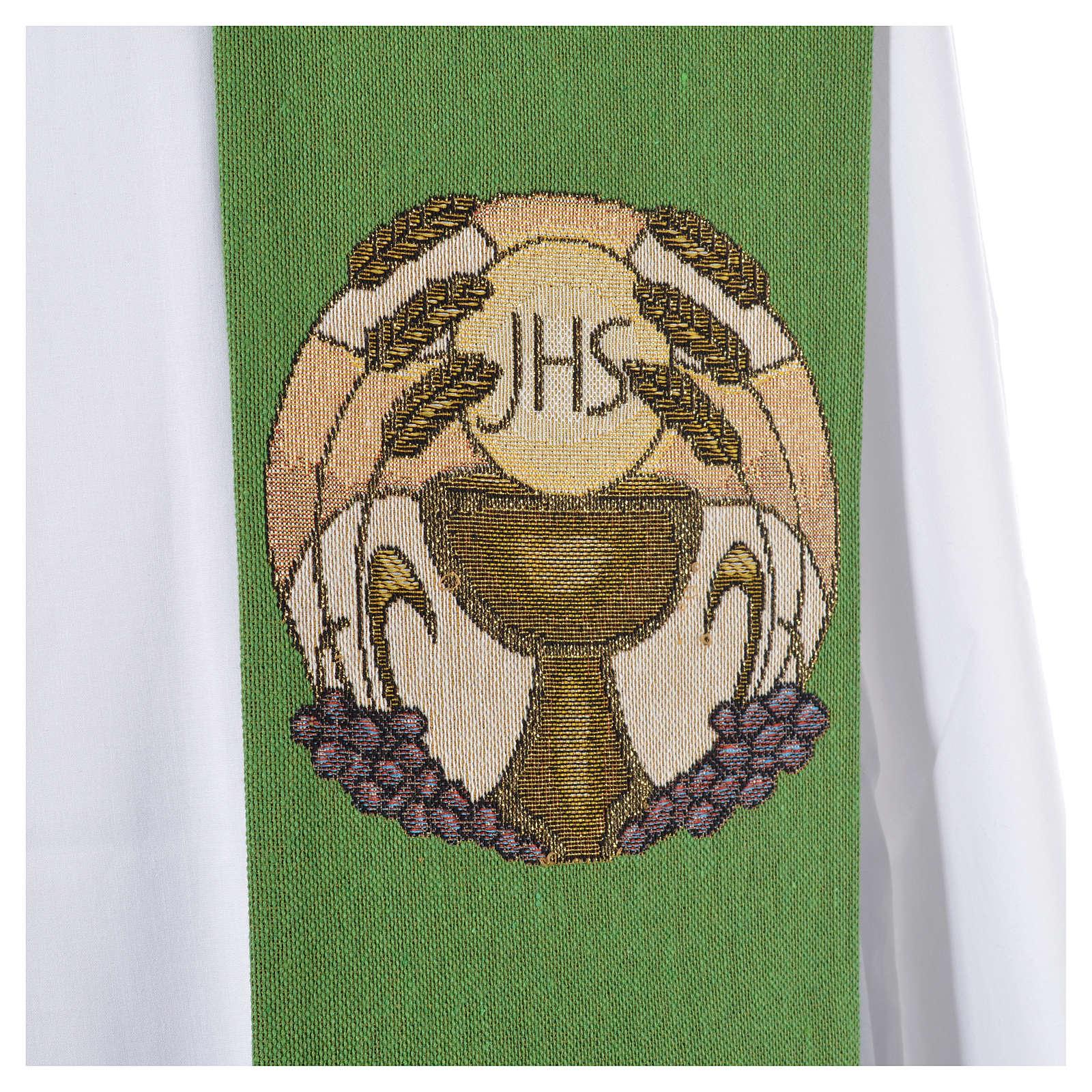 Estola cáliz hostia IHS espigas poliéster algodón lurex 4