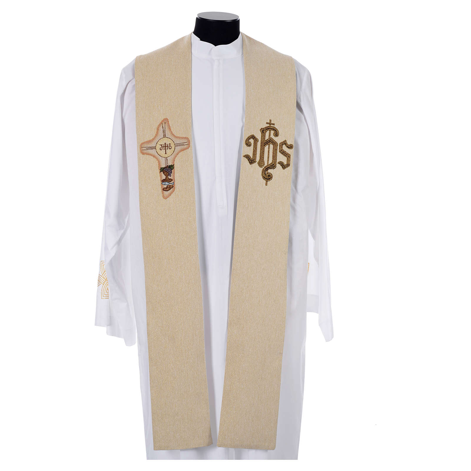 Stole with cross and IHS in polyester, cotton and lurex 4