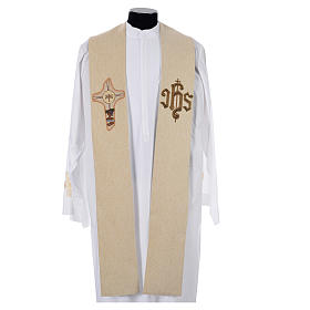 Stole with cross and IHS in polyester, cotton and lurex s4