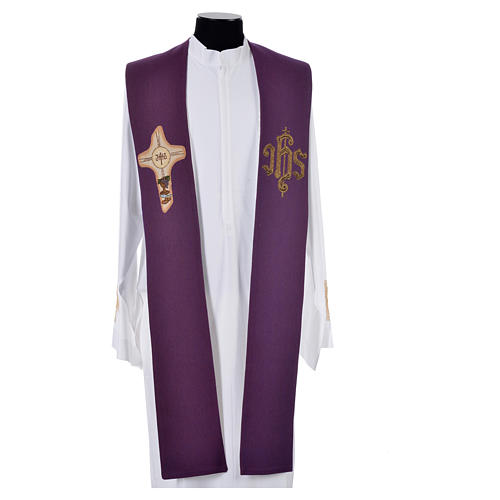 Stole with cross and IHS in polyester, cotton and lurex 3