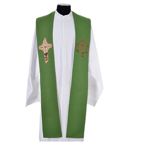 Stole with cross and IHS in polyester, cotton and lurex 6