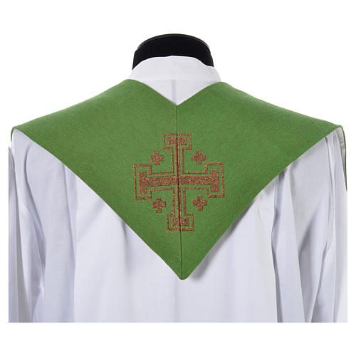 Stole with cross and IHS in polyester, cotton and lurex 7