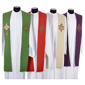 Minister Stole with cross and IHS in polyester, cotton and lurex s1