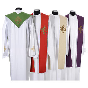 Minister Stole with cross and IHS in polyester, cotton and lurex s2