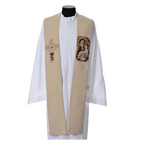 Étole liturgique Saint Antoine de Padoue beige s1